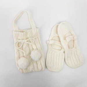 slippers gift set knit bag and matching slippers